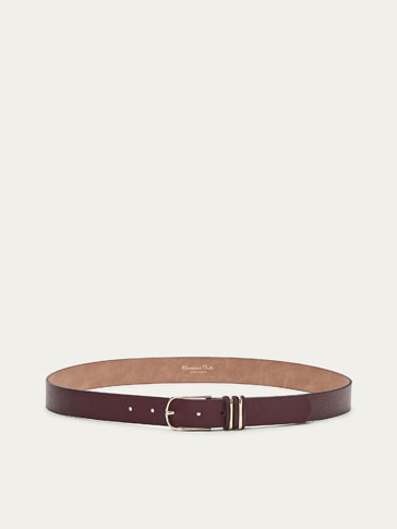 LEATHER BELT WITH CONTRASTING LOOPS DETAIL