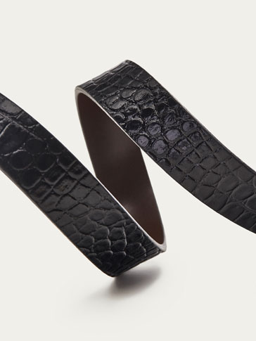 REVERSIBLE LEATHER BELT WITH MOCK CROC FINISH