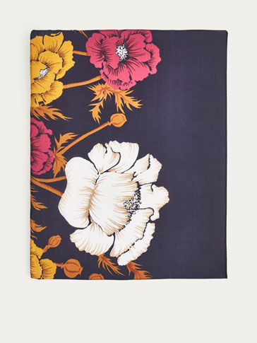 SILK SCARF WITH LARGE FLOWERS PRINT