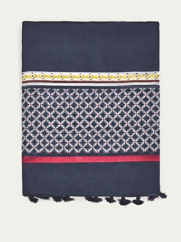 GEOMETRIC PRINT SILK SCARF WITH POMPOM DETAIL