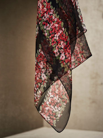 LIMITED EDITION POSITIONAL FLORAL PRINT SILK SCARF