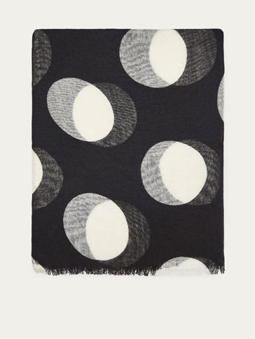 WOOL FOULARD WITH POLKA DOTS