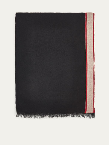 WOOL/COTTON SCARF WITH CONTRASTING TRIM