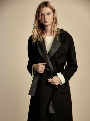 REVERSIBLE WOOL/CASHMERE COAT WITH HOOD