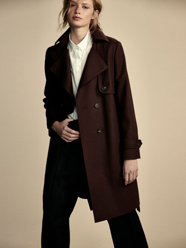 WOOL TRENCH COAT WITH BELT DETAIL