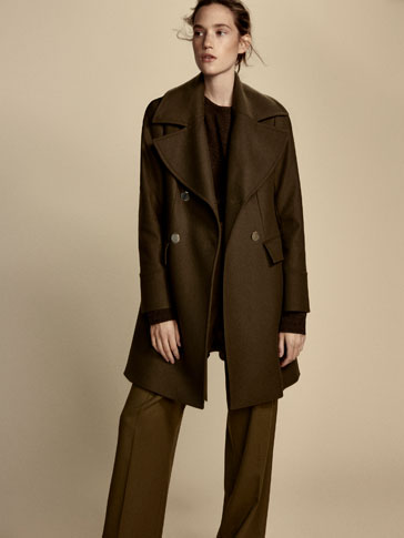 KHAKI COAT WITH EPAULETTES DETAIL