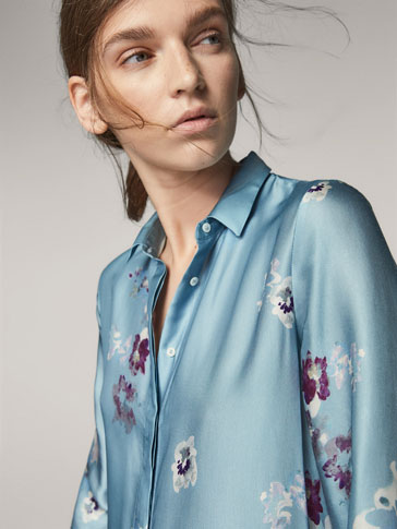 FLORAL PRINT SHIRT DRESS WITH TIED DETAIL