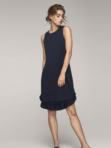 SOLID DRESS WITH RUFFLE DETAIL