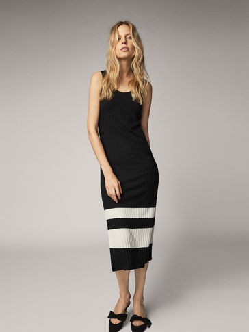 DRESS WITH CONTRASTING STRIPE