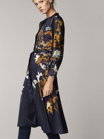 FLORAL PRINT SATIN DRESS WITH TIED DETAIL
