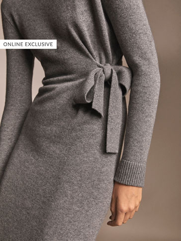 100% CASHMERE DRESS WITH SIDE BOW DETAIL