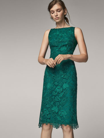 GREEN GUIPURE DRESS