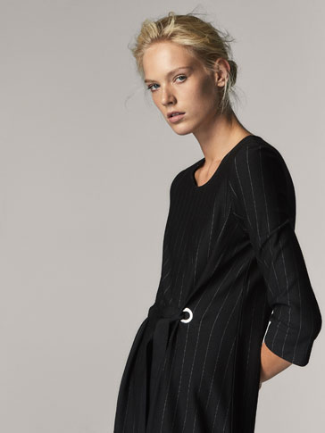 PINSTRIPE DRESS WITH TIED DETAIL
