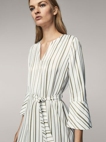 STRIPED SATIN DRESS WITH BOW DETAIL
