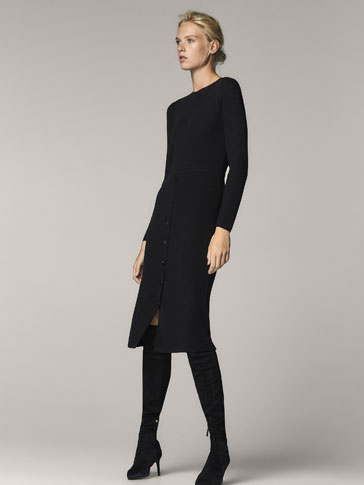WOOL DRESS WITH BUTTON DETAIL