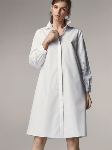 SHIRT DRESS WITH EMBROIDERED DETAIL