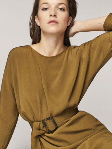 KHAKI DRESS WITH BELT DETAIL