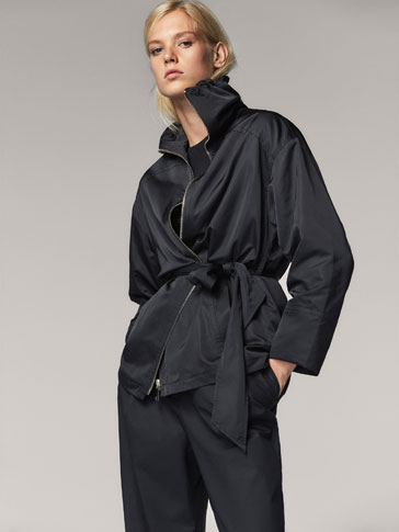 PARKA WITH BELT DETAIL