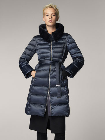 DOWN JACKET WITH FUR DETAIL
