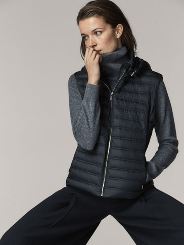 DOWN PUFFER GILET WITH HOOD DETAIL