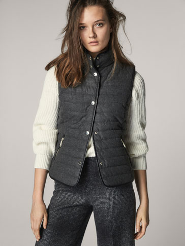 FLANNEL WAISTCOAT WITH CONTRASTING PIPING DETAIL