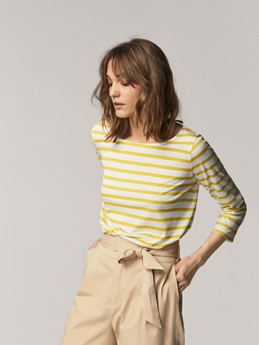 STRIPED T-SHIRT WITH OPENING