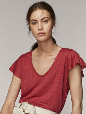 LINEN T-SHIRT WITH FLARED SLEEVES