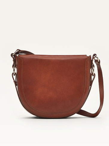 LARGE LEATHER HALF MOON CROSSBODY BAG