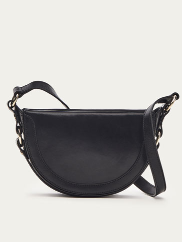 SMALL LEATHER MOON CROSSBODY BAG