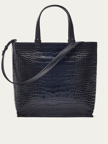 LEATHER TOTE BAG WITH MOCK CROC FINISH