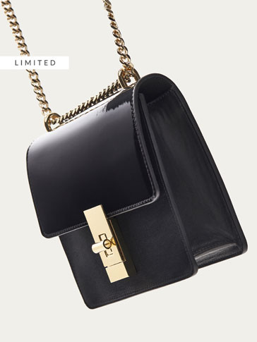CONTRASTING LEATHER CROSSBODY BAG WITH CHAIN DETAIL
