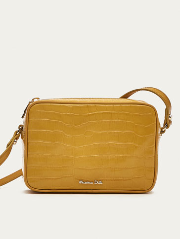 MINI LEATHER CROSSBODY BAG WITH MOCK CROC FINISH