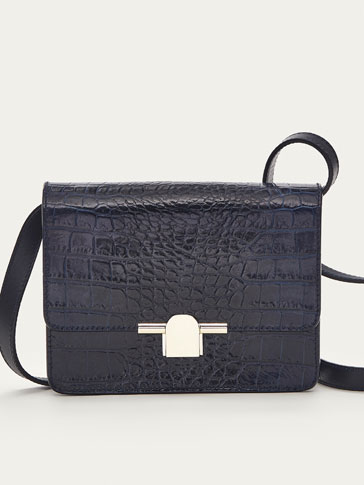 MINI MOCK CROC LEATHER CROSSBODY BAG WITH METAL DETAIL