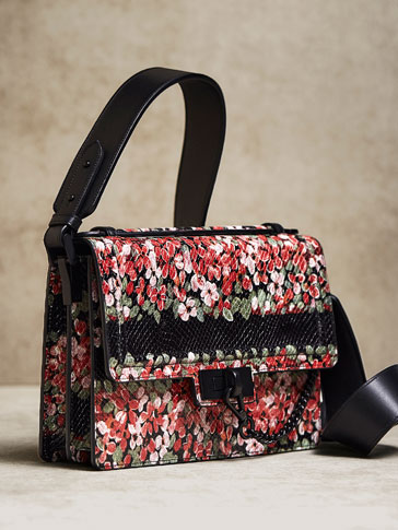 LIMITED EDITION FLORAL PRINT LEATHER CROSSBODY BAG WITH LOBSTER CLASP DETAIL