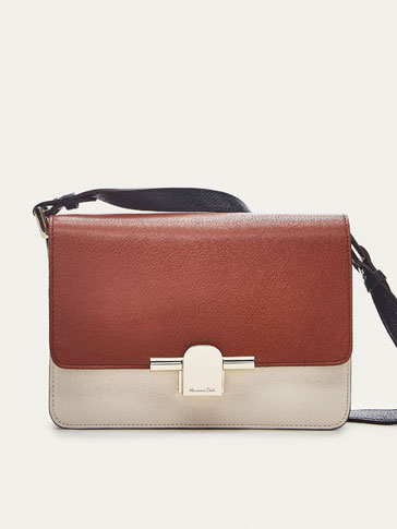 LEATHER TRICOLOURED CROSSBODY BAG WITH METAL DETAIL