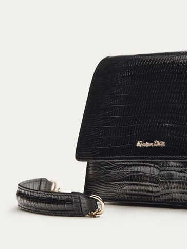 LEATHER SNAKESKIN-EFFECT CROSSBODY BAG WITH CHAIN DETAIL