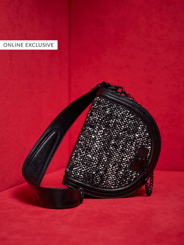 LIMITED EDITION EMBELLISHED LEATHER CROSSBODY BAG WITH LOBSTER CLASP DETAIL