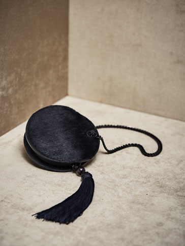 LIMITED EDITION LEATHER CROSSBODY BAG WITH POMPOM AND FAUX FUR DETAILS