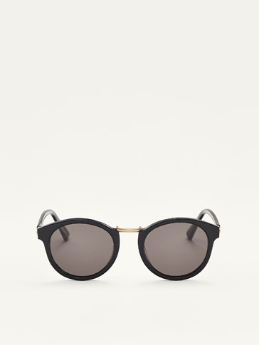 ROUND SUNGLASSES WITH BLACK DETAIL