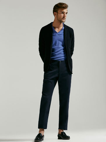 CASUAL FIT CHINO TROUSERS WITH TEXTURED WEAVE AND WAIST DETAIL