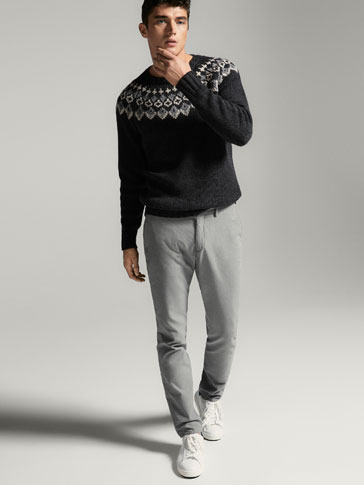 SOPHISTICATED SLIM FIT TROUSERS WITH TEXTURED WEAVE