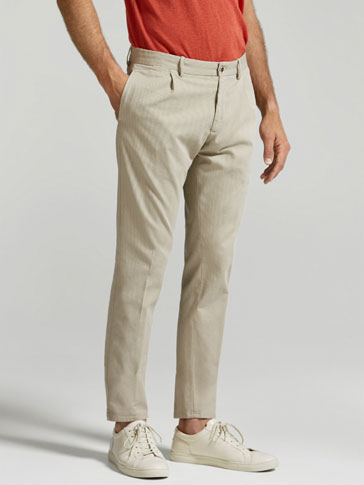 SLIM FIT CHINO-STYLE TEXTURED WEAVE TROUSERS