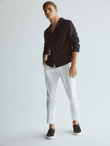 SLIM FIT POPLIN TROUSERS WITH DARTS