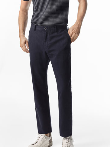 CASUAL FIT CHINO-STYLE LINEN/COTTON TROUSERS