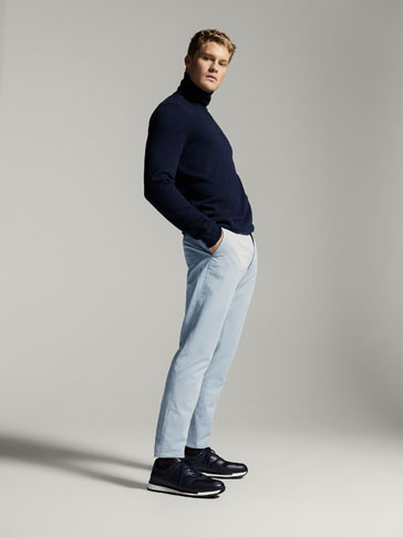 SLIM FIT CHINO-STYLE SMART TWILL TROUSERS