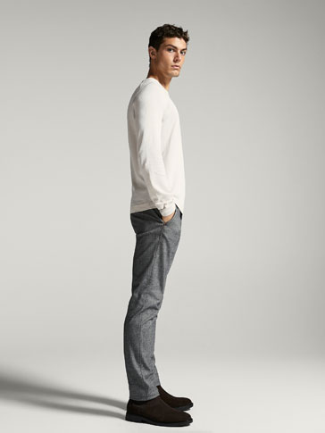 PANTALON CHINO FALSO LISO MELANGE SLIM FIT