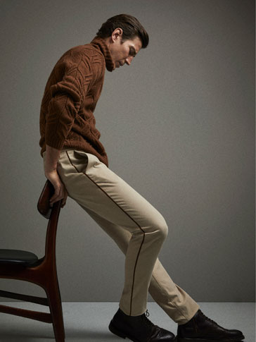 LIMITED EDITION SLIM FIT WOOL GABARDINE-EFFECT CHINOS WITH SIDE DETAIL