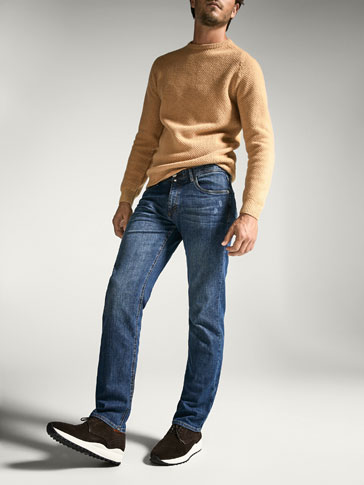REGULAR FIT FADED-EFFECT JEANS