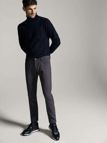 SLIM FIT JEANS WITH MICRO TEXTURED WEAVE