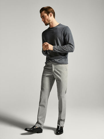 CASUAL FIT TEXTURED WEAVE COTTON TROUSERS